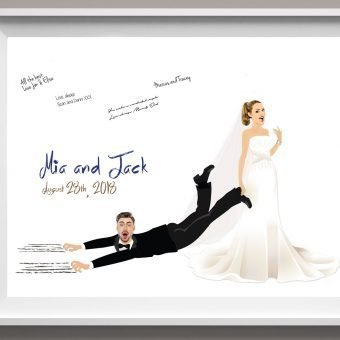 Bride Dragging Groom Guest Book