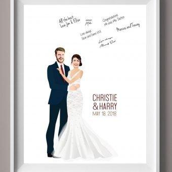 Wedding Guest Book Alternative - Couple Embracing
