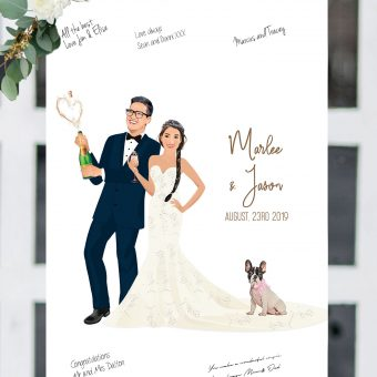 Wedding Guest Book Alternative - Gold Champagne Wedding